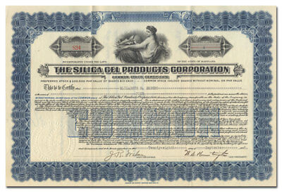 Silica Gel Products Corporation Stock Certificate - Talcum Like Cure All