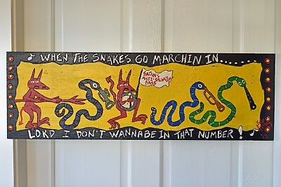 John Sperry Primitive Outsider Southern Folk Art painting Mixed Media Snakes