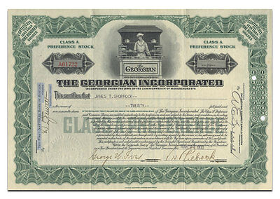 RARE The Georgian Incorporated Stock Certificate (Massachusetts Cafeteria)