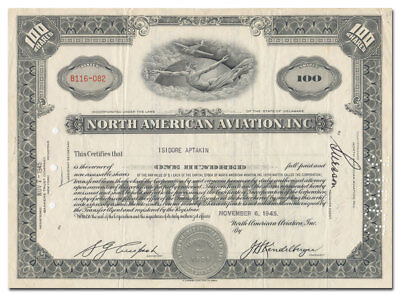 North American Aviation, Inc. Stock Certificate (Rare Type)