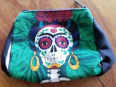 Day of the Dead Frida Kahlo Skull Cloth Coin Purse with Zipper Enclosure