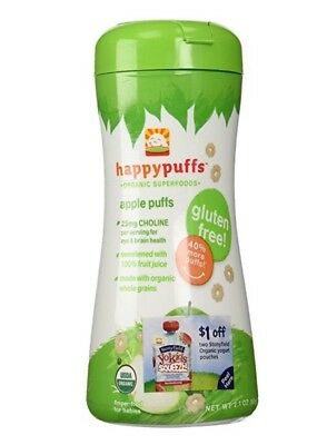 Happy Baby Organic Puffs, Apple Puffs, 2.1-Ounce Container, 07 / 2017