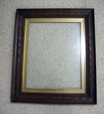 "Antique Early 1900's Carved Oak Picture Frame Original Glass Pic Size 20"" x 16"""