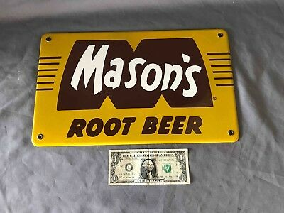 Vintage Large Mason's Root Beer Porcelain Advertising Soda Machine Chest Sign