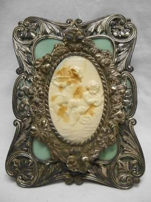 Old ART NOUVEAU Hanging Metal Wall Pocket Frame w Celluloid Cupids