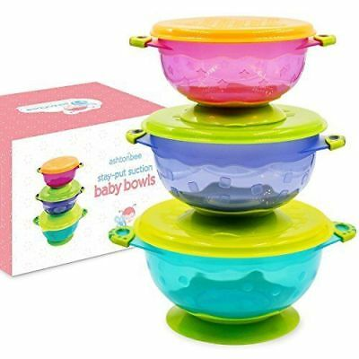 Stay Put and Spill Proof Suction Toddler Baby Bowls Feeding Set of 3. NEW