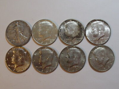 (7) Kennedy Half Dollar & Walking Liberty 50 cents Silver  4 90% and 4 40% clad