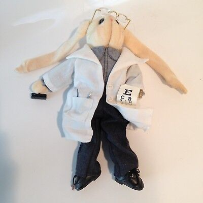 Rabbit Ophthalmologist Eye Doctor Doll Figurine With Eye Chart And Glasses
