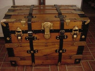 Ladycomet Refinished Flat Top Steamer Trunk Antique Chest w/Straps, Key, Tray