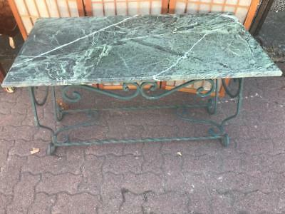 Vintage French Style Ornate Wrought Iron Table With Green Marble Top