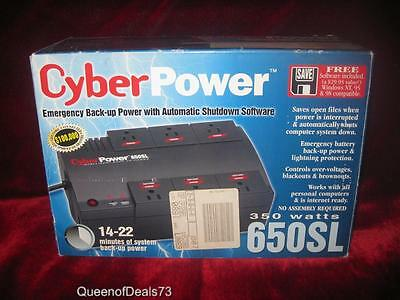 Cyber Power 650SL Emergency Back-up Power 350 Watts Discontinued FAST SHIP