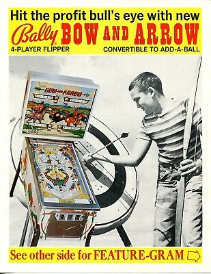 Bow and Arrow Pinball Flyer / Brochure / Ad Mint