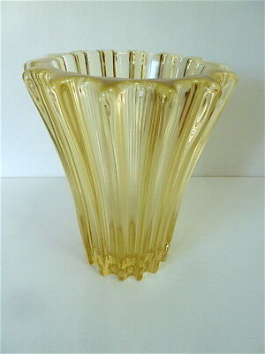 VASE Glass signed PIERRE D'AVENS FRANCE 1950 Art Deco French Glass