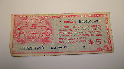 USA Military Payment Certificate Series 471 KEY $5.00 Five Dollars (#Mg29)