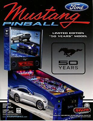 Mustang 50th Anniversary Stern Pinball Flyer / Brochure / Ad