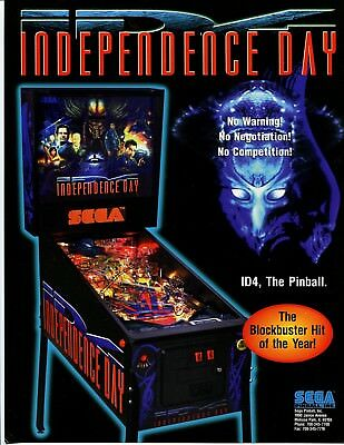 Independence Day Sega Pinball Flyer Mint / Brochure / Ad
