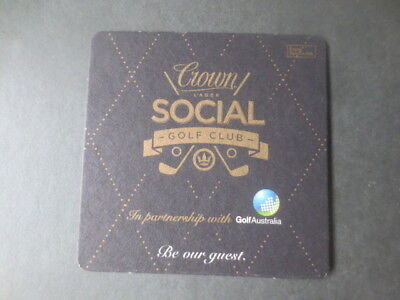 "1 only CROWN LAGER ""Social Golf Club"" RARE  ,BEER  COASTER ,"