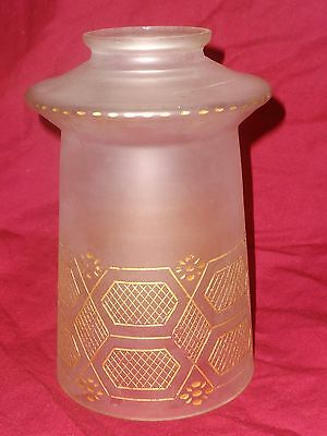 Antique Victorian Vintage Frosted Glass Gold Etched Engraved Lamp Shade Line