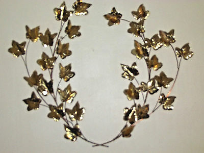 """Set of 2 VTG Home Interior Gold Metal Ivy Leaves Wall Art, Accent Swag Set 17"""""""