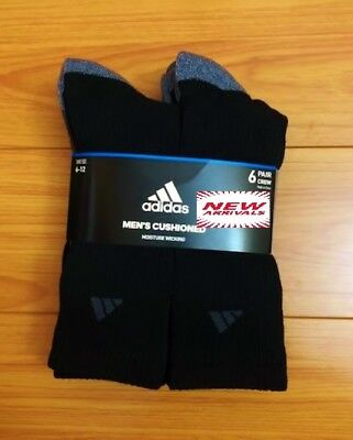 6-pack Adidas Cushioned Men's Crew Socks, Cushioned, shoe 6-12, Black & Gray