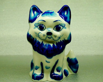 Cat Gzhel Porcelain Figurine cobalt hand painted Souvenirs from Russia