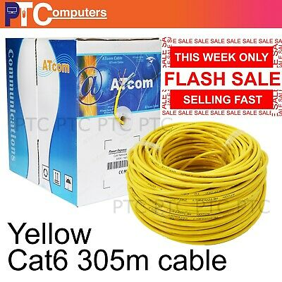 Cat6 305m YELLOW RJ45 Ethernet  Network Cable Roll Boxed VIC ONLY