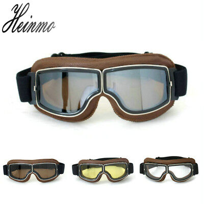Vintage Motorcycle Scooter Goggles Glasses Aviator Pilot Cruiser WWII for Harley