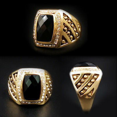 Men's Gold Stainless Steel Black Baguette Onyx Gemstone Biker Ring Band Jewelry