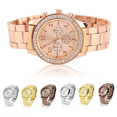 Charming Crystal Diamond Stainless Steel Ladies Women Girl Quartz Wrist Watch