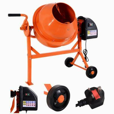 Electric Concrete Cement Mixer Drum Portable Plaster Mortar 240V Wheels 63L
