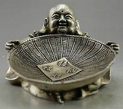 Collectible Decorate Old Handwork Tibet Silver Carved Buddha Hold Dustpan Statue