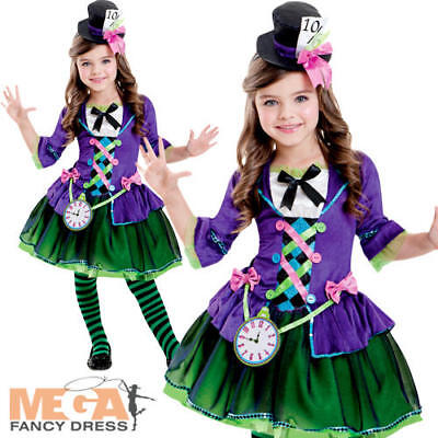 Mad Hatter Girls Fancy Dress Fairy Tale World Book Day Childrens Kids Costume