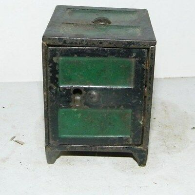 """antique cast iron bank-2 2/1"""" tall2"""" square no key original not a copy unmarked"""