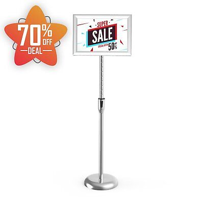 """11""""x17"""" Adjustable Pedestal Sign Holder Floor Stand with Telescoping Post Poster"""