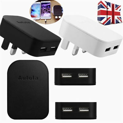 UK Plug Dual 2 Ports USB Fast Charger 5V 2.1A Adapter for Tablet Mobile Phones