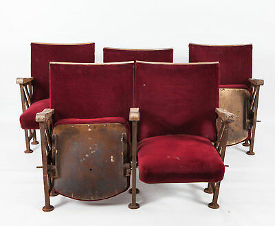 Vintage Art Deco Antique Cinema Theatre Seats / Chairs Furniture