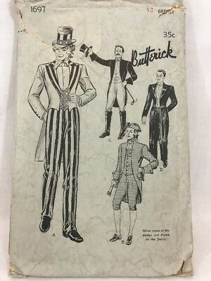 ANTIQUE BUTTERICK 1697 Deltor Costume Pattern Uncle Sam Geo. Washington Size 32