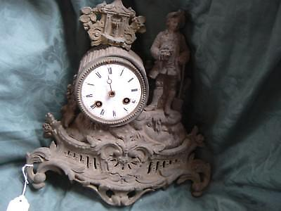 Antique French Metal Clock For Parts / Spares Poss. Restore ?