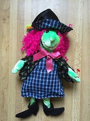 TY Beanie Babies Retired 2000 SCARY the Pink Hair Green Face WITCH Mint w/tags