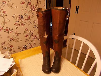 Pair Of Late 1800S Early 1900S Child's Riding Boots Made Of Oilcloth/rubber By T