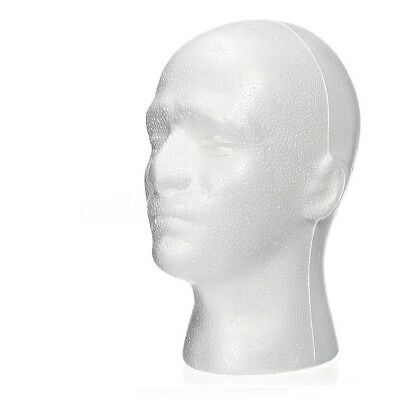 2 X Male Polystyrene Styrofoam Model Head Mannequin Stand Wig Hair Hat Display
