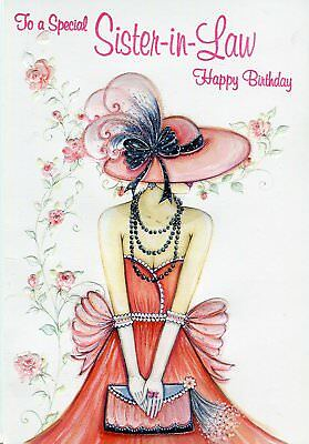 Sister in law happy birthday fashionable lady in pink dress sister in law happy birthday fashionable lady in pink dress birthday card bookmarktalkfo Image collections