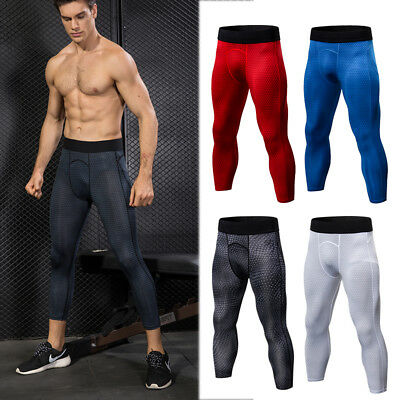 Men's Compression 3/4 Legging Workout Sports Gym Calf Bottoms Wicking Tight fit