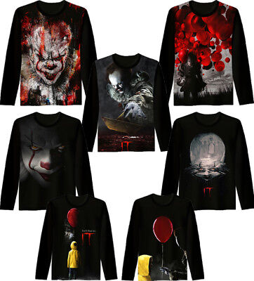 It 3d Print T Shirt Stephen King Horror Clown Scary movie Funny Cool Size S-7XL
