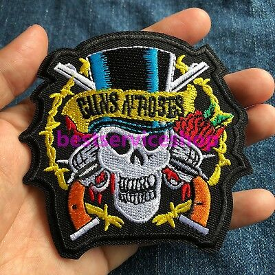 GUNS N ROSES Skull Logo Rock Band Embroidered Iron Sew On Patch DIY tee jacket