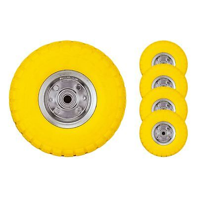 "4 x 10"" Yellow Sack Truck Trolley Solid Rubber Replacement Wheel Tyre Steel Rim"