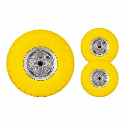 "2 x 10"" Yellow Sack Truck Trolley Solid Rubber Replacement Wheel Tyre Steel Rim"