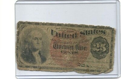 1863  25 CENT US Fractional Currency 4th Issue G. WASHINGTON