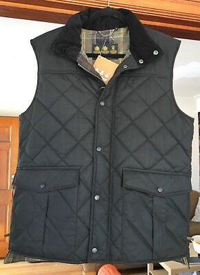 New Men's BARBOUR BOXLEY GILET Black Quilted Vest Large L $279