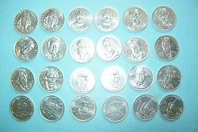 24 Shell Famous Facts & Faces Game Coins w/ 2 Complete Sets of Non-Winning Coins